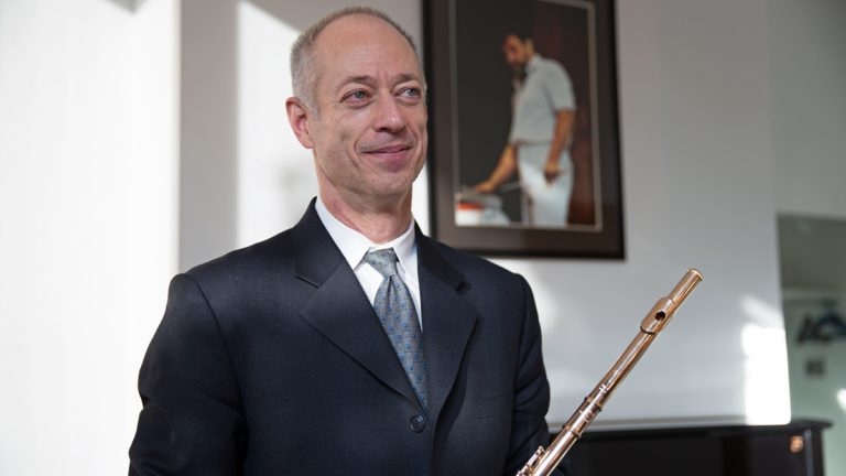 Principal flutist Jeffrey Khaner performs a new concerto by Behzad Ranjbaran Friday and Saturday with the Philadelphia Orchestra.  (Lindsay Lazarski/WHYY)