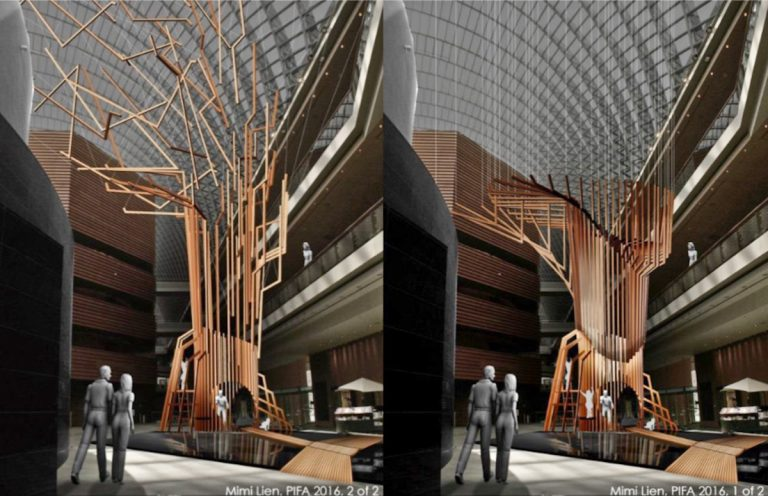 Rendering of the Kinetic Tree to be constructed in the lobby of the Kimmel Center for the Philadelphia International Festival of the Arts. (Kimberly Paynter/WHYY)