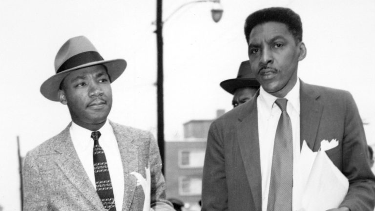 From left: Rev. Dr. Martin Luther King, Jr., and Bayard Rustin, two leaders in the Montgomery, Ala., bus boycott, are shown leaving the Montgomery County Courthouse on Feb. 24, 1956. (AP Photo)