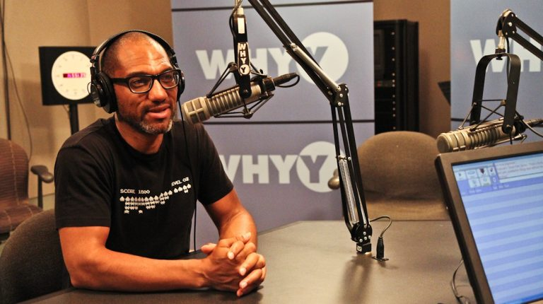 Curator and musician King Britt talks with NewsWorks Tonight host Dave Heller about 'The Beautiful Noise: A Tribute to Sun Ra,' playing Friday evening at Fringe Arts.  (Kimberly Paynter/WHYY)