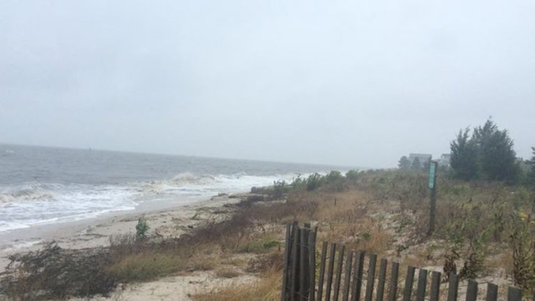 Sea water covers the beach at Kitts Hummock on Thursday afternoon. (DNREC photo)