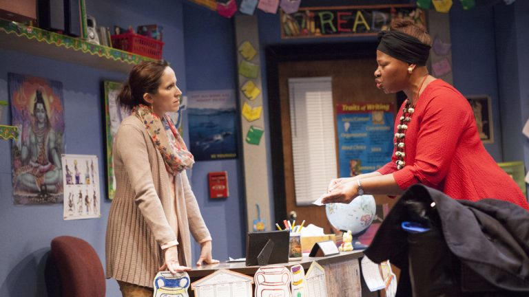 Karen Peakes (left) as the teacher and Alice M. Gatling as the mother in InterAct Theatre Company's production of