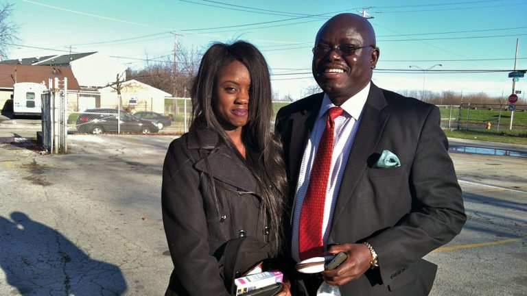 Psychotherapist Kpangbala Sengbe and his daughter Bendu, 17. (Elana Gordon/WHYY)