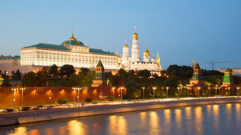 The Grand Kremlin Palace and the Kremlin embankment are shown in September in Moscow. (sikaraha/<a href='http://www.bigstockphoto.com/image-151890899/stock-photo-moscow%2C-russia-september-06%2C-2016%3A-the-grand-kremlin-palace-and-the-kremlin-embankment-in-the-september-twilight-moscow%2C-russia'>Big Stock Photo</a>)
