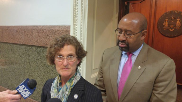 Philadelphia Inspector General Amy Kurland and Mayor Michael Nutter discuss problems found in the operations of the city's department of Licene4se and Inspections. (Tom MacDonald/WHYY)