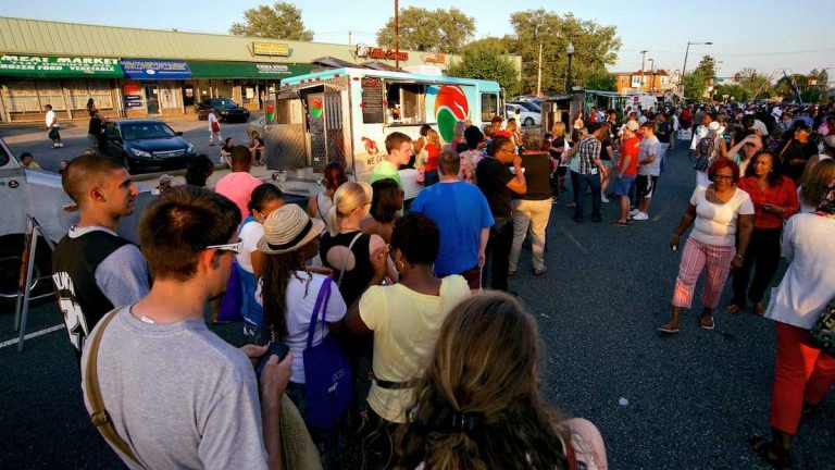 The Night Market, which drew droves of people to West Oak Lane last summer, returns to Ogontz Avenue on Thursday. (Bas Slabbers/for NewsWorks)