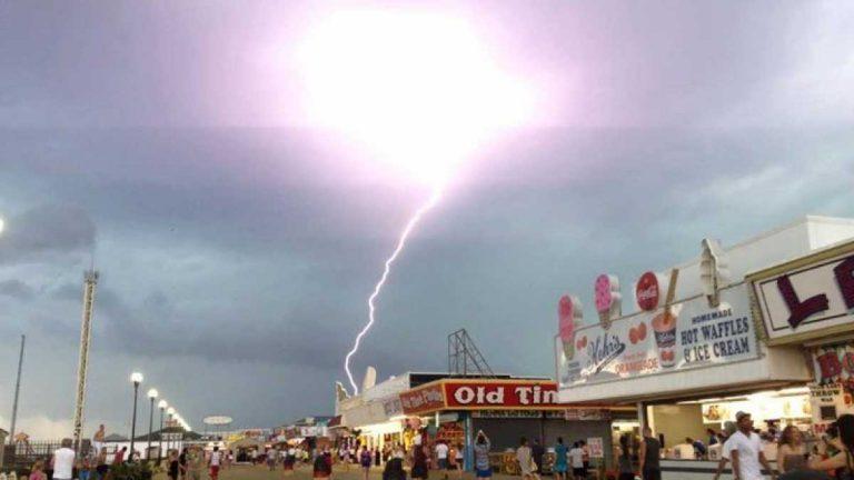 A lightning strike near the Seaside Height boardwalk as captured by JSHN contributor Jillian Speranza on June 24, 2013.