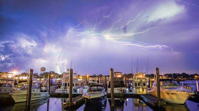 A lightning storm over the Belmar Marina in July 2014 by Victor Bubadias Photography.