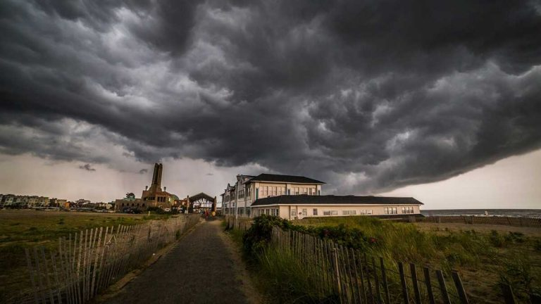 Storm clouds over Asbury Park during a July 30