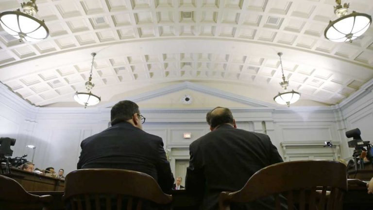 David Wildstein, left, looks on during a Bridgegate hearing on Jan. 9, 2014, at the Statehouse in Trenton. (Mel Evans/AP Photo, file)