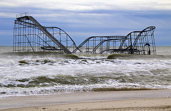 The JetStar Roller Coaster fell into the ocean in Seaside Heights, N.J. during Superstorm Sandy. (Jana Shea/for NewsWorks)