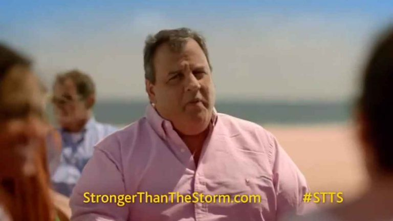 Chris Christie, who was running for re-election in 2013, appeared in several of the STTS television commercials. (Image from STTS video)