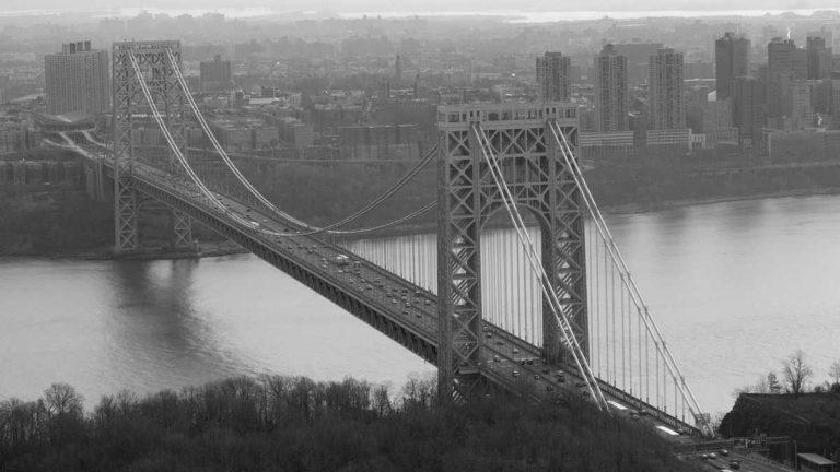 The George Washington Bridge connects New York City
