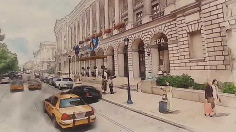 Artist's rendering of new hotel to be located in the building that now hosts Family Court