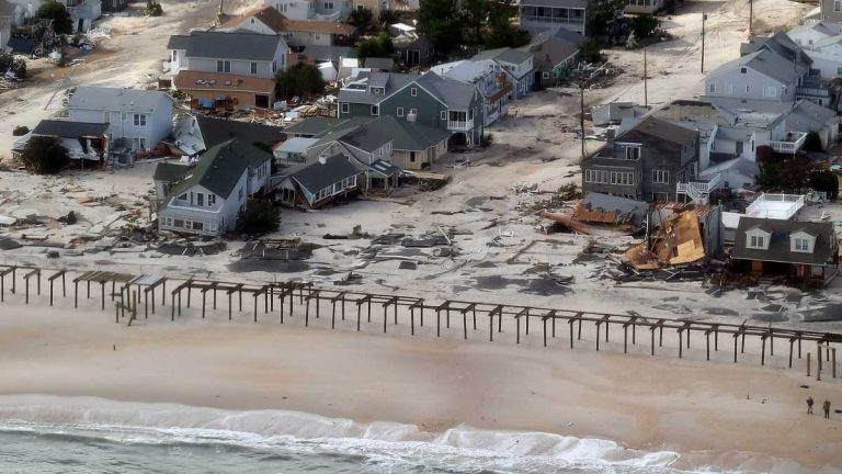 The view of storm damage over the Atlantic Coast in Seaside Heights, N.J., Wednesday, Oct. 31, 2012. (AP Photo/Doug Mills, Pool)