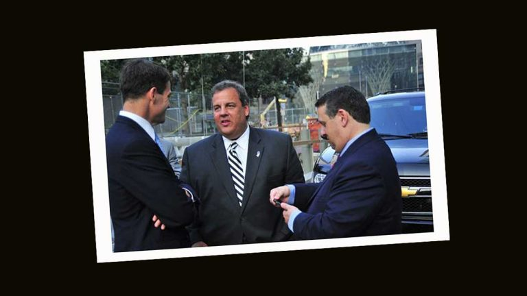 From left, Bill Baroni, former deputy executive director of the Port Authority of New York and New Jersey; Governor Chris Christie, and David Wildstein. (Port Authority of New York and New Jersey/WNYC)