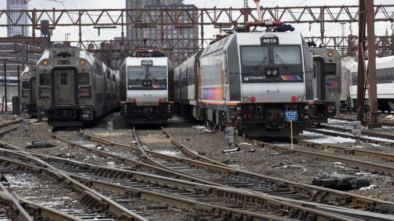 New Jersey Transit trains at the Hoboken terminal. (AP File Photo/Mary Altaffer)
