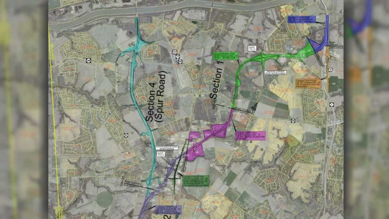 This construction map shows the northern portion of the new 301 (pink, green and blue) connecting to Rt. 1. (DelDOT photo)