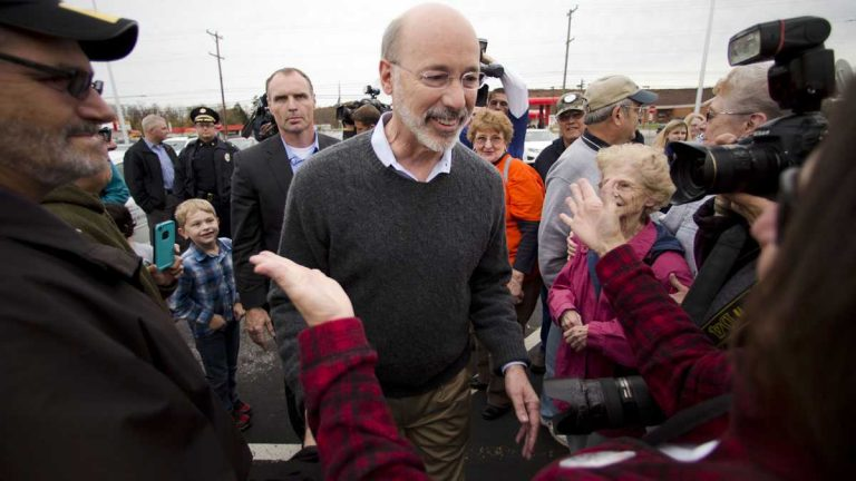 Well-wishers surround Tom Wolf shortly after his victory over Tom Corbett in November. (Matt Rourke/AP photo, file)