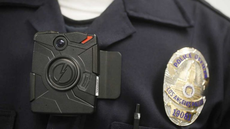 A Los Angeles police officer wears an on-body camera during a demonstration.(AP file photo)