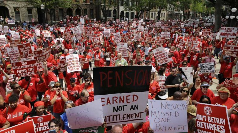 A Monmouth University poll indicates New Jersey voters don't quite get what the consequences would be if the state were forced to make contributions to the state workers pension systems. (AP photo/Mel Evans
