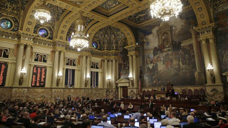 Members of Pennsylvania's House of Representatives debate budget proposals. A proposed pension deal caused the entire budget deal to collapse over the weekend  (AP Photo/Matt Rourke)