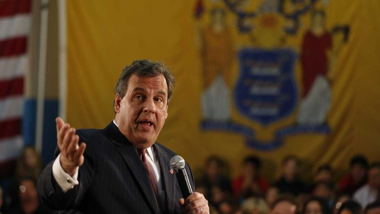 New Jersey Gov. Chris Christie talks during a town hall meeting on April 9