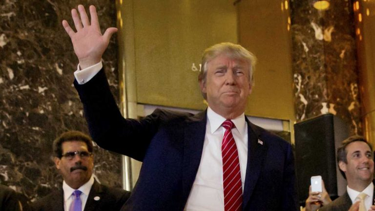 Republican presidential candidate Donald Trump is shown at a news conference at Trump Tower