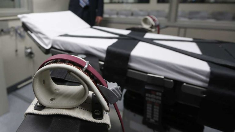 This Oct. 9, 2014 file photo, shows an arm restraint on the gurney in an the execution chamber (Sue Ogrocki/AP Photo, file)