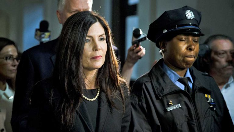 Pennsylvania Attorney General Kathleen Kane walks from the State Supreme Court room in March at Philadelphia City Hall. (Matt Rourke/AP Photo)