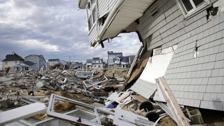 Homes destroyed in October by Superstorm Sandy are seen Thursday, April 25, 2013, at Ortley Beach, in Toms River, N.J.  (Mel Evans/AP Photo)