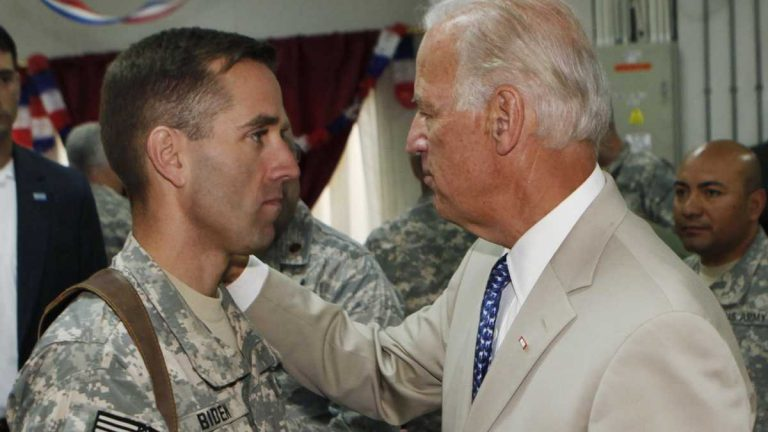 Vice President Joe Biden visits his son Beau during his tour in Iraq in 2008. Beau Biden, the former Delaware Attorney General, died of brain cancer in 2015. (AP Photo/Khalid Mohammed, Pool)