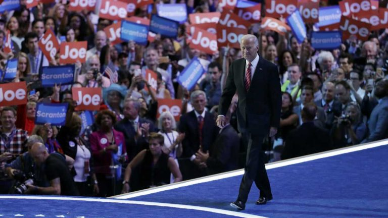 Vice President Joe Biden takes the stage during the third day of the Democratic National Convention