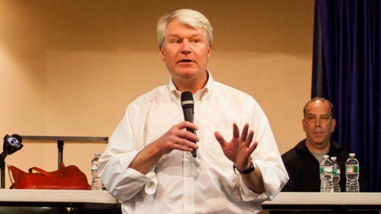 Labor leader John Dougherty speaks at a community meeting in South Philadelphia in Novembber. (Brad Larrison/for NewsWorks)