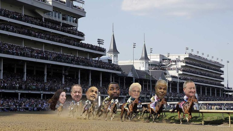 Horses make their way around turn one during the 141st running of the Kentucky Derby horse race at Churchill Downs on Saturday. Philly mayoral candidates' heads added later, of course, of course. (Original: AP Photo/Darron Cummings; NewsWorks illustration by Kimberly Paynter)