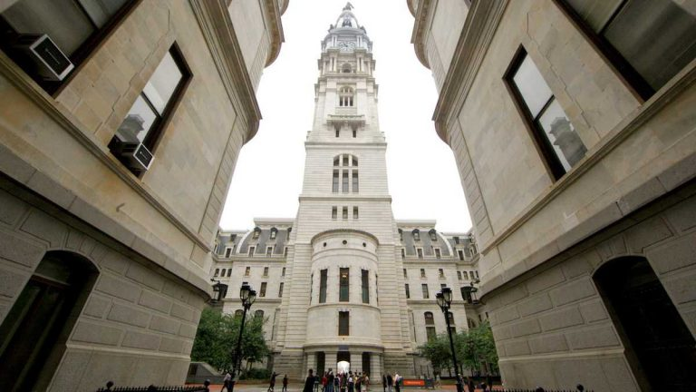 The clock tower is shown from the courtyard of Philadelphia City Hall. (Nathaniel Hamilton for NewsWorks