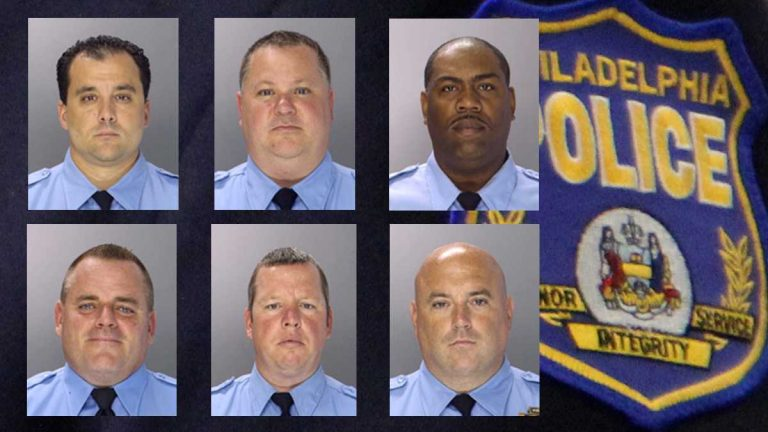 The trial of six former Philadelphia police officers accused of corruption began Monday. They are (clockwise from top left) Thomas Liciardello, Perry Betts, Norman Linwood, John Speiser, Brian Reynolds, and Michael Spicer. (NewsWorks Image)