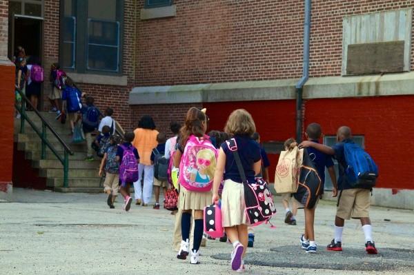 Students file in C.W. Henry Elementary School. (Jana Shea/for NewsWorks, file)