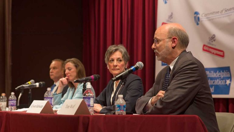 From left: Rob McCord, Katie McGinty, Allyson Schwartz, and Tom Wolf, Democratic candidates for Pennsylvania governor. (Lindsay Lazarski/WHYY, file)