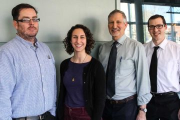 NewsWorks election-coverage team (L-R): Brian Hickey, Katie Colaneri, Dave Davies and Shai Ben-Yaacov. (Kimberly Paynter/WHYY)