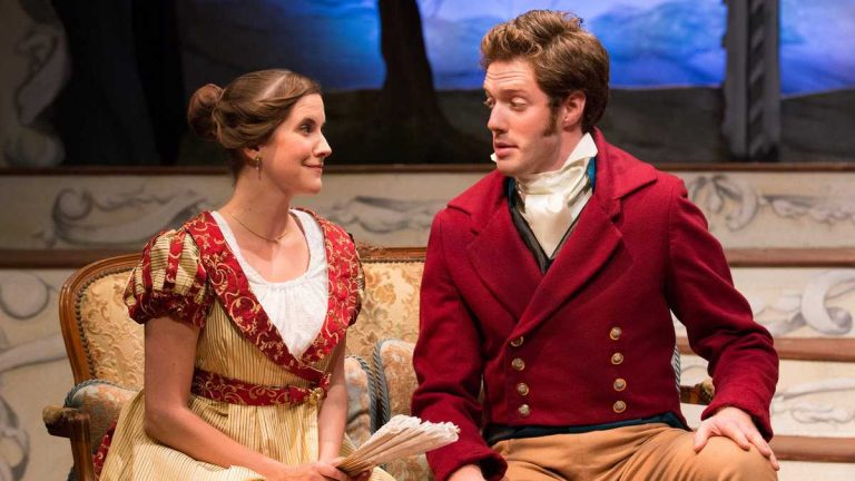 Lauren Sowa as Emma and Jake Blouch as Frank Churchill in Lantern Theater Company's production of