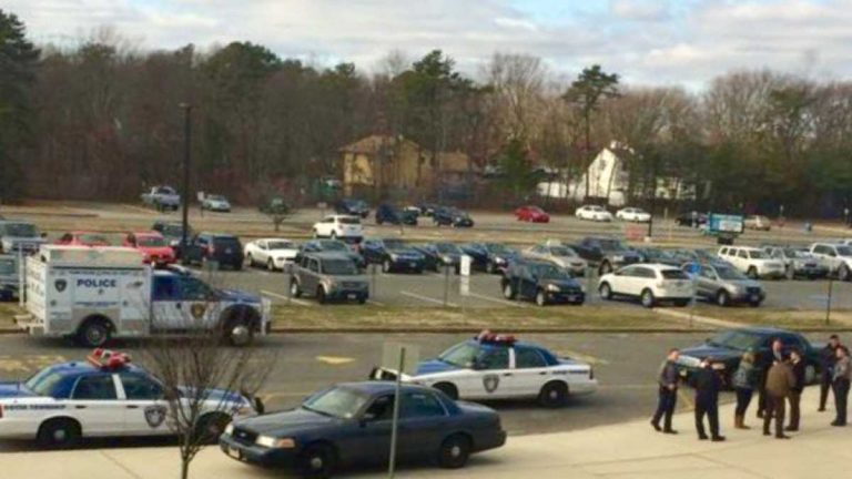 Police vehicles outside Toms River High School East early Friday afternoon. (Photo courtesy of @MikeMoores24 via Twitter)