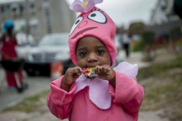 Savannah Lewis, 1, of Germantown, dressed as a character from Yo Gabba Gabba! for Halloween 2013. (Tracie Van Auken/for NewsWorks)