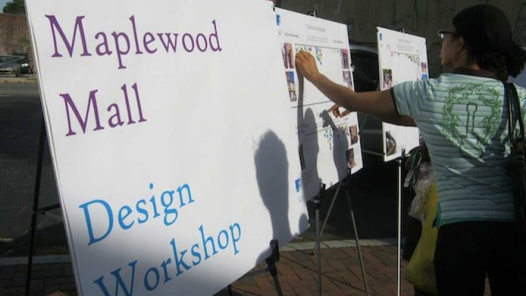 At a June 2013 block party, the underlying premise was to get locals thinking about what they'd like to see Maplewood Mall become. (Alaina Mabaso/for NewsWorks)