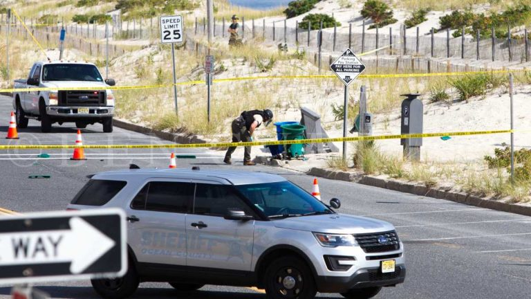 A bomb squad technician near the garbage can explosion site in Seaside Park on Sept 17