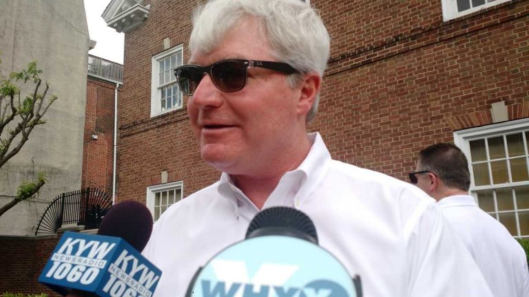 Electicians union leader John Dougherty speaks with reporters in 2015. A non-union electrical contractor says  Dougherty punched him in the face in a South Philadelphia street confrontation