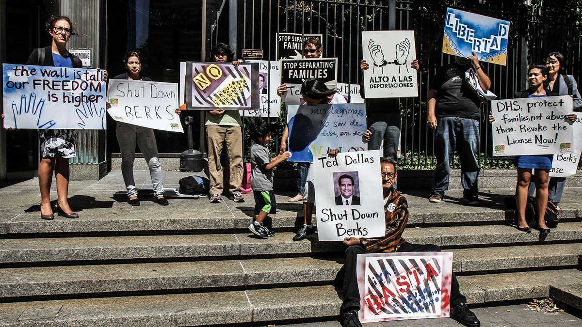 Supporters of undocumented immigrants participate in a protest outside the Philadelphia Department of Human Services in September. (Kimberly Paynter/WHYY