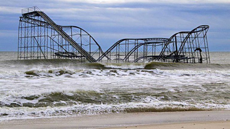 The JetStar Roller Coaster fell into the ocean in Seaside Heights