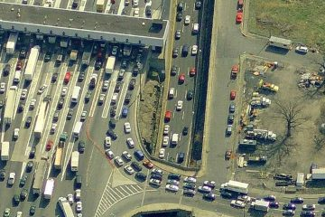Aerial view of the Fort Lee access lanes onto the George Washington Bridge. (Image via Bing Maps)