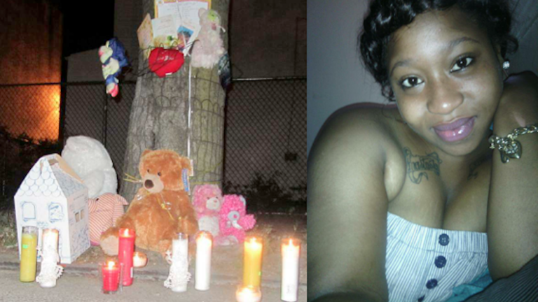Candles, teddy bears and more mementos mark a memorial set up at the Nicetown corner where Ceeanna Pate (right) was fatally struck by a hit-and-run driver in Oct. 2013. (Brian Hickey/WHYY)